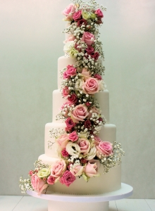 Fresh Flower Cascade Wedding Cake