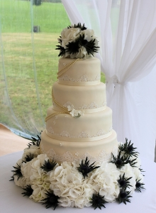 Bead And Lace Wedding Cake