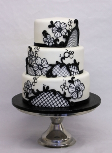 Black Edible Lace Wedding Cake