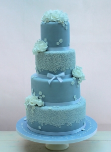 Cameo Blue Lace & Flowers Wedding Cake