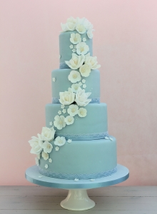 Blue Iced with Flower Cascade Wedding Cake
