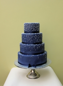 Blue And Pearls Wedding Cake