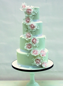 Blush Pink Rose Cascade Wedding Cake