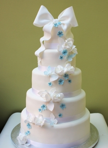 Butterflies, Blossoms Bows Wedding Cake
