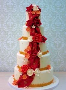 Red And Gold Cascade Wedding Cake