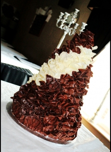 Chocolate Ruffle Wedding Cake