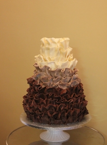 Chocolate Ruffle Ombre Wedding Cake