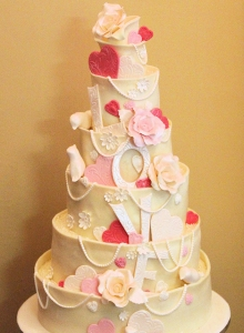 Chocolate Lovebirds Wedding Cake