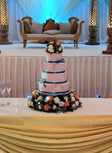 Coral Teal Wedding Cake