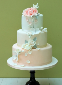 Peach Cake with Roses & Magnolias Wedding Cake