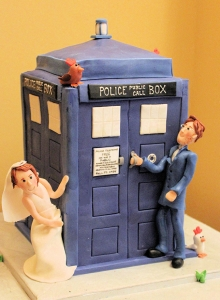 dr who, tardis, wedding cake