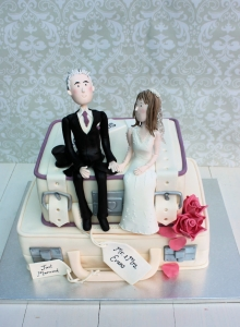 Suitcase and Character Wedding Cake