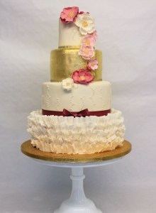 Gold Ruffle Vintage Wedding Cake