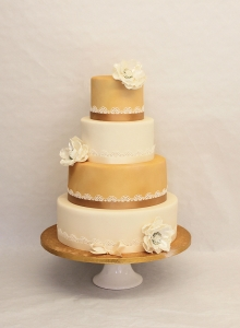 Golden Tiers Wedding Cake