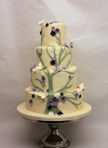 Green Purple Cherry Blossom Wedding Cake