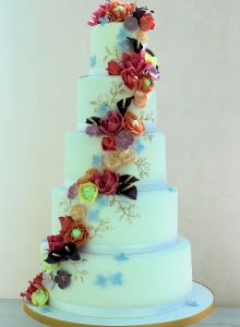 Gold & Indian Summer Flower Wedding Cake