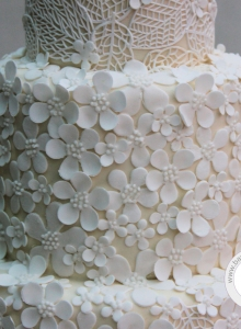 Blossom & Lace Leaves Detail Wedding Cake