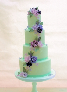 Purple & Lilac Cascade Wedding Cake