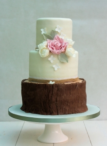 Log Cake with Flower Cluster Wedding Cake