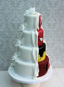 Marvel Reveal Wedding Cake Side View