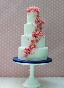 Coral Cascade Wedding Cake