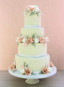 Summer Rose Garland Wedding Cake