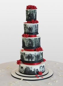Black and White Photo Wedding Cake