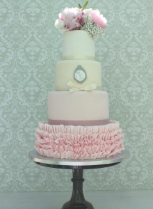 Pink Ruffle Cameo Wedding Cake