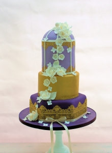 Gold & Purple Birdcage Wedding Cake