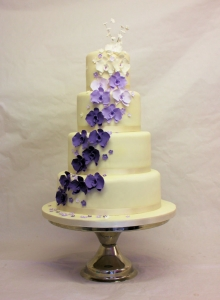 Purple Orchid Cascade Wedding Cake