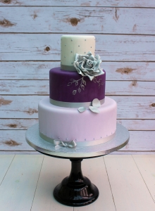 Purple & Silver Rose Wedding Cake