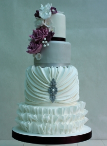 Elegant Silver and Purple Wedding Cake