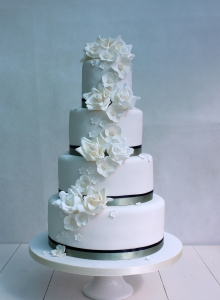 Cascade of Roses Wedding Cake