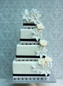 White Square Cascade with Lillies Wedding Cake