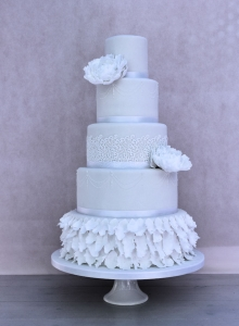 Large Peony & Lace Wedding Cake