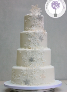 Winter Reveal Wedding Cake 1