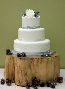 Winter & Pinecones Wedding Cake