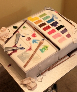 Artists pallett birthday cake