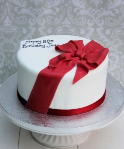 Birthday Cake with Red Ribbon