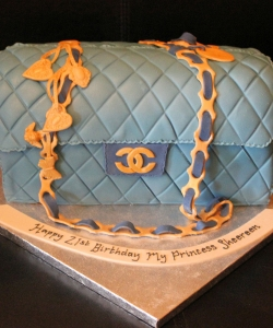 Blue Chanel Handbag Birthday Cake