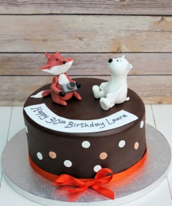 Fox And Bear Birthday Cake