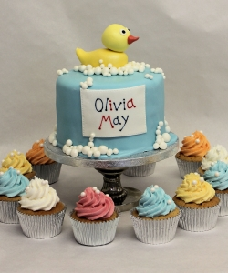 Ducks & Cupcakes Christening Cake