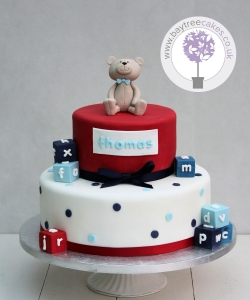 Red Teddy & Blocks Christening Cake