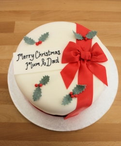 Christmas Cake With Red Bow